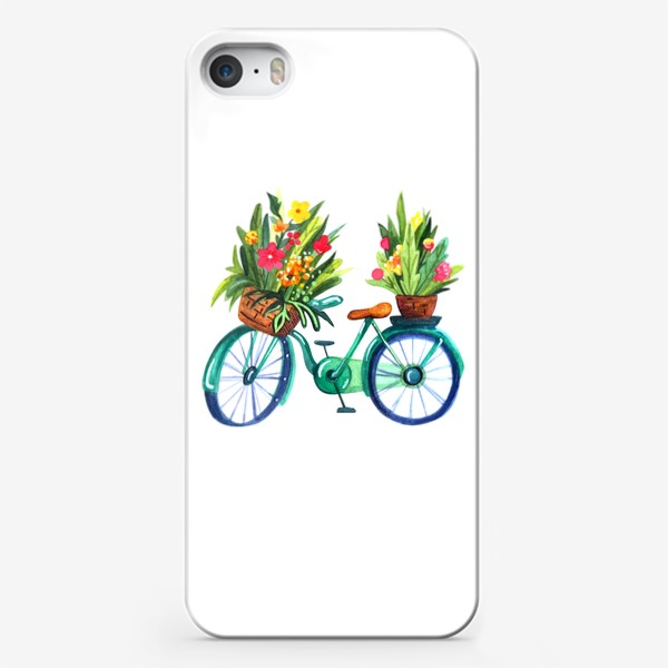 Чехол iPhone «Велосипед летний акварельный»