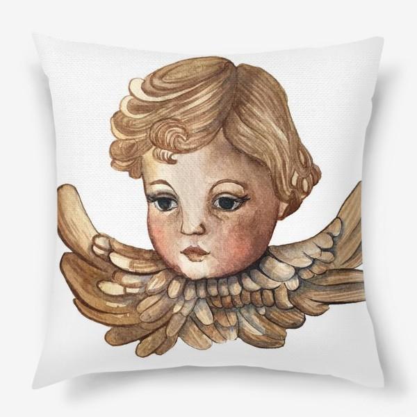 Подушка «Путти - винтажный золотой ангел»