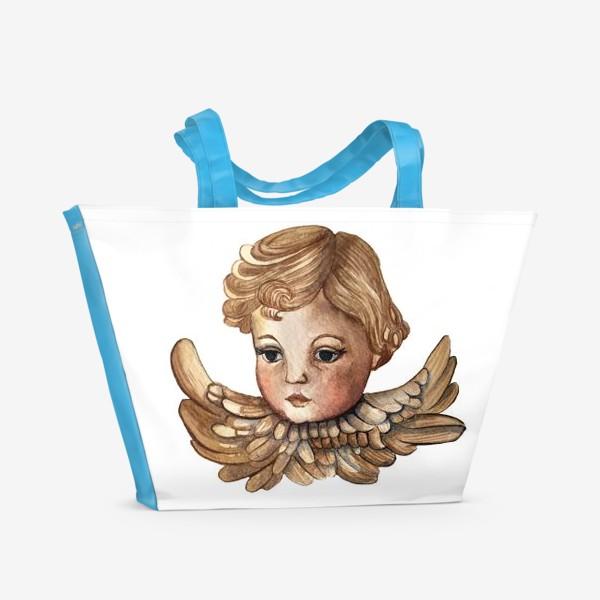 Пляжная сумка «Путти - винтажный золотой ангел»
