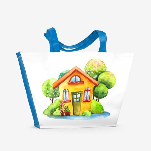 Пляжная сумка «Садовый акварельный домик»