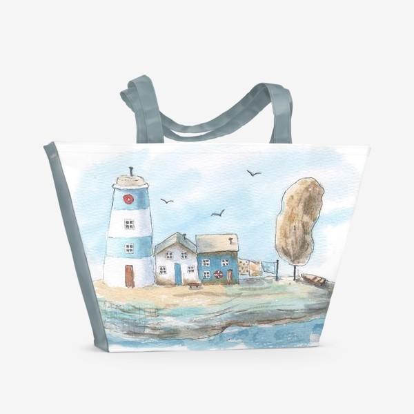 Пляжная сумка «Морская улочкам и маяк»