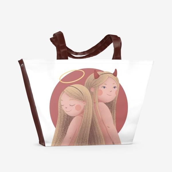 Пляжная сумка «Близнецы, ангел и демон»