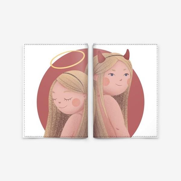 Обложка для паспорта «Близнецы, ангел и демон»