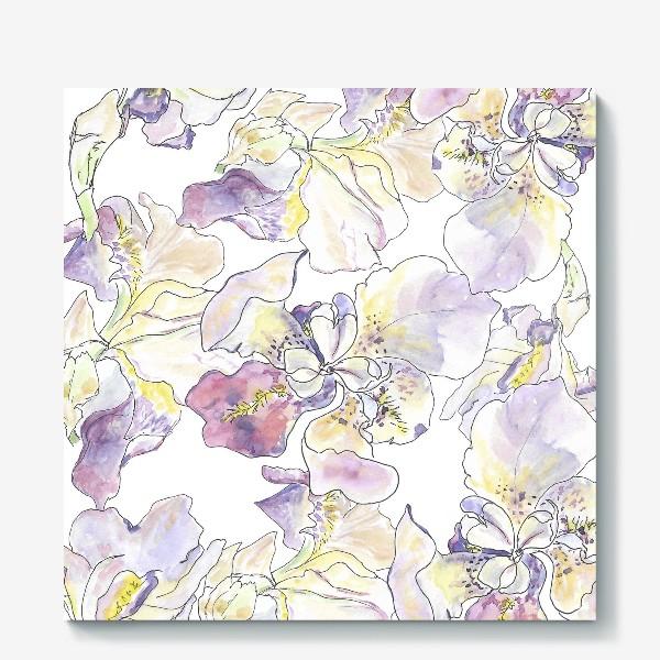Холст «Цветущий ирис. Оттенки фиолетового.»