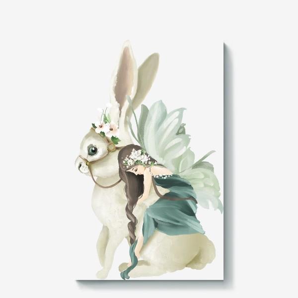 Холст «Фея на зайце»