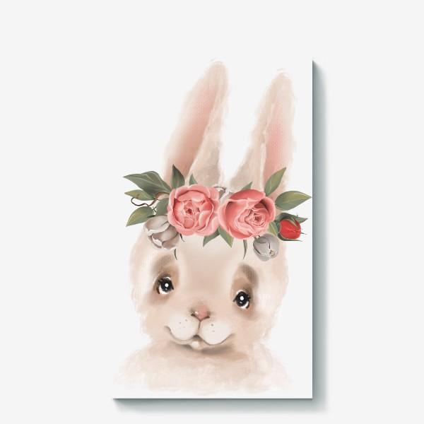 Холст «Зайка с венком из цветов»