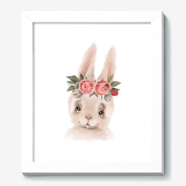 Картина «Зайка с венком из цветов»