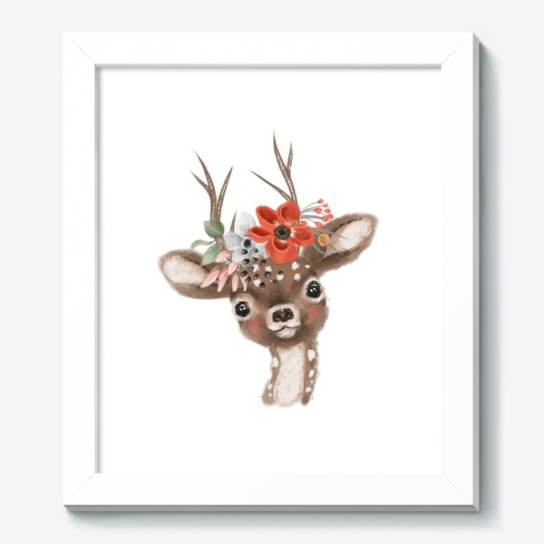 Картина «Олененок с цветами»