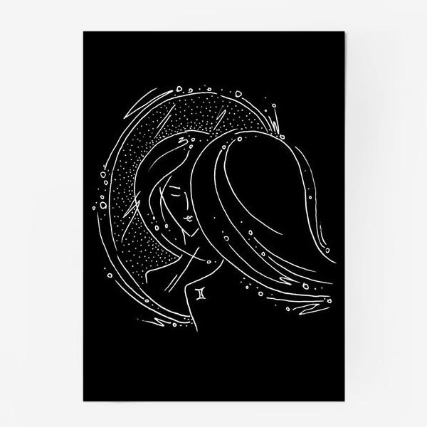 Постер «Близнецы зодиак черный»