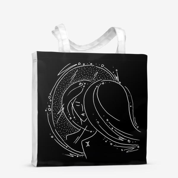 Сумка-шоппер «Близнецы зодиак черный»