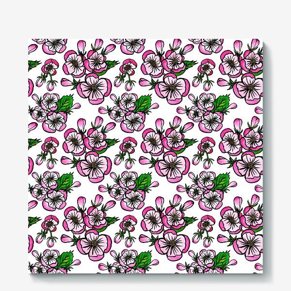 Холст «Паттерн розовые цветы яблони»