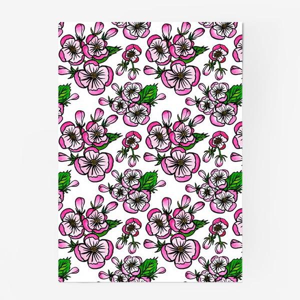 Постер «Паттерн розовые цветы яблони»
