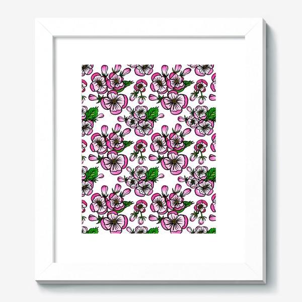 Картина «Паттерн розовые цветы яблони»