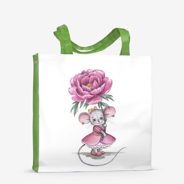 Сумка-шоппер «Мишка с цветком»