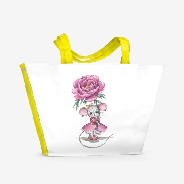 Пляжная сумка «Мишка с цветком»