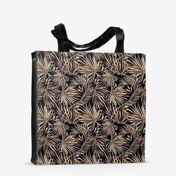 Сумка-шоппер «Паттерн из тропических листьев на черном фоне»