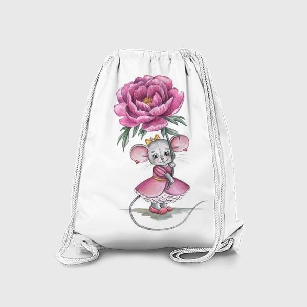 Рюкзак «Мишка с цветком»