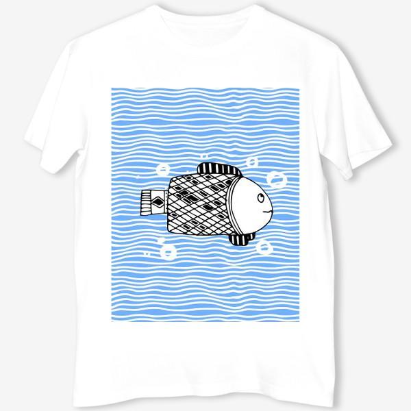 Футболка «Fish doodle  on  wave background.»