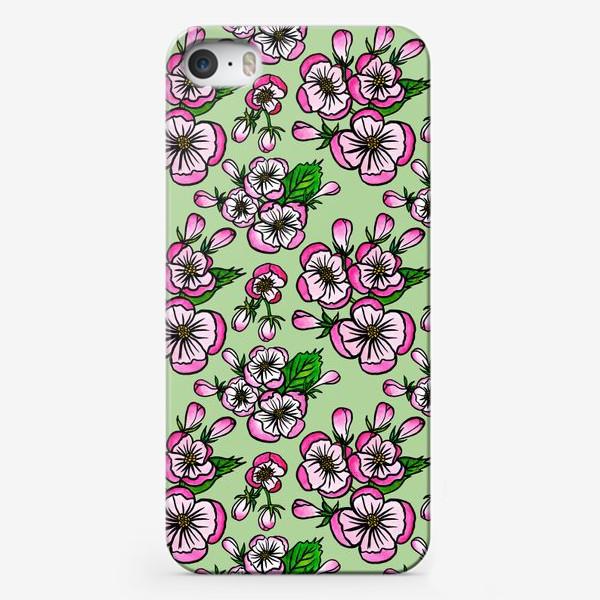 Чехол iPhone «Цветущие яблони на зелёном фоне»