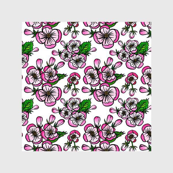 Шторы «Паттерн розовые цветы яблони»