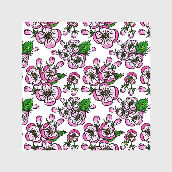 Скатерть «Паттерн розовые цветы яблони»