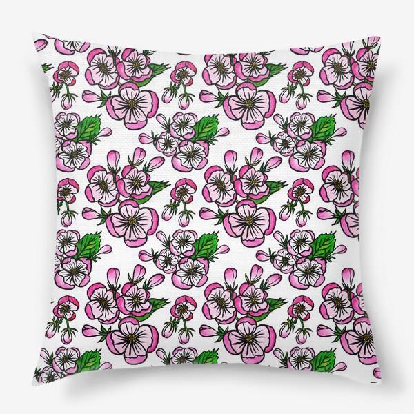 Подушка «Паттерн розовые цветы яблони»