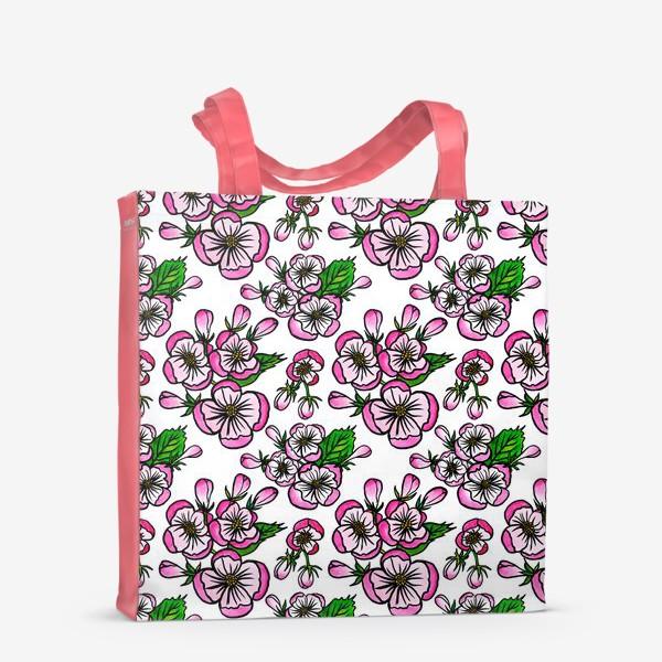 Сумка-шоппер «Паттерн розовые цветы яблони»