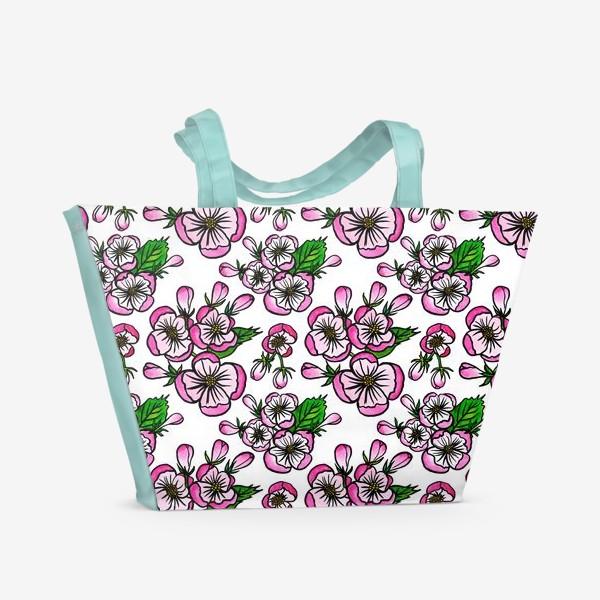Пляжная сумка «Паттерн розовые цветы яблони»