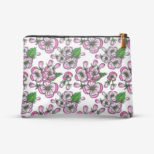 Косметичка «Паттерн розовые цветы яблони»