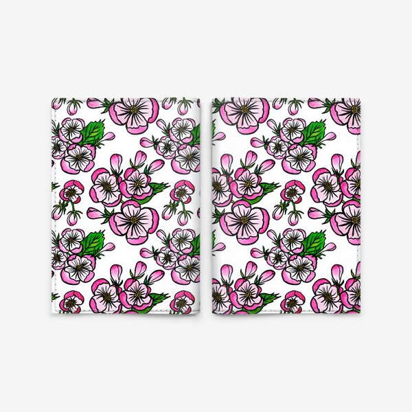 Обложка для паспорта «Паттерн розовые цветы яблони»