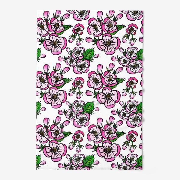 Полотенце «Паттерн розовые цветы яблони»
