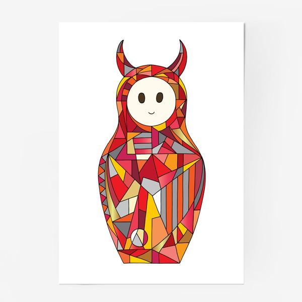 Постер «Матрешка аниме чертик»