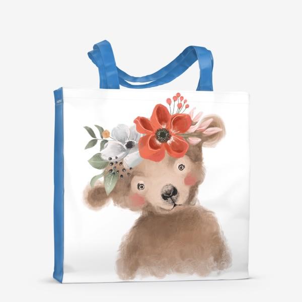 Сумка-шоппер «Мишка с цветочным венком»