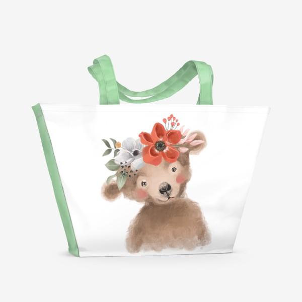 Пляжная сумка «Мишка с цветочным венком»