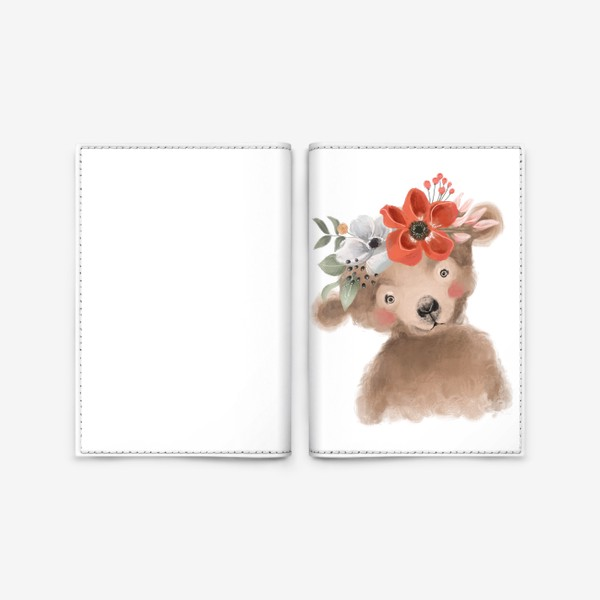 Обложка для паспорта «Мишка с цветочным венком»