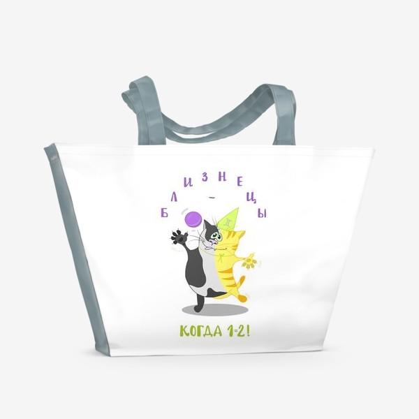 Пляжная сумка «Кот Близнецы»