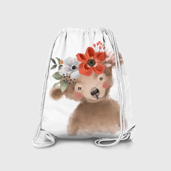 Рюкзак «Мишка с цветочным венком»