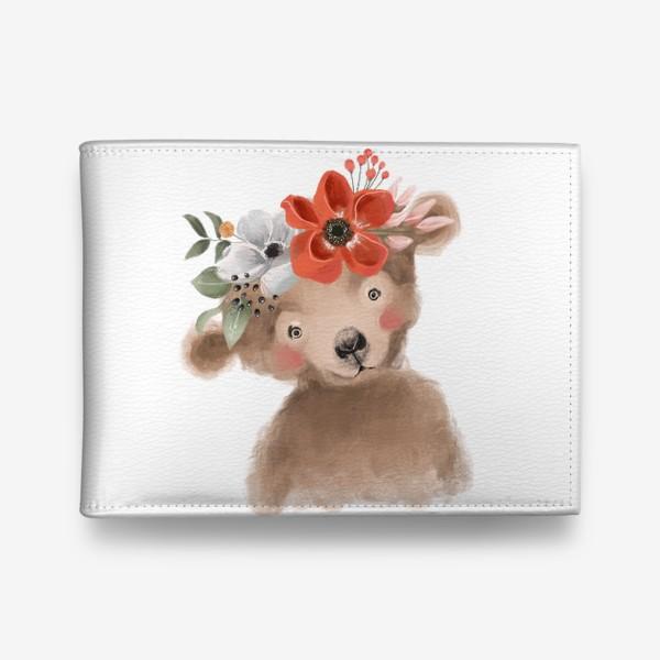 Кошелек «Мишка с цветочным венком»