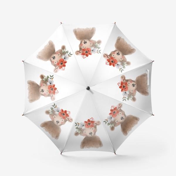 Зонт «Мишка с цветочным венком»