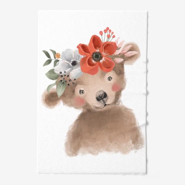 Полотенце «Мишка с цветочным венком»