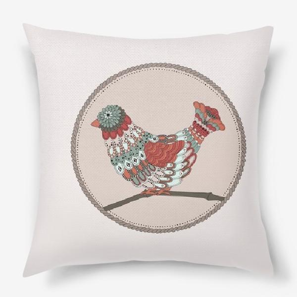 Подушка «Птичка и орнамент»