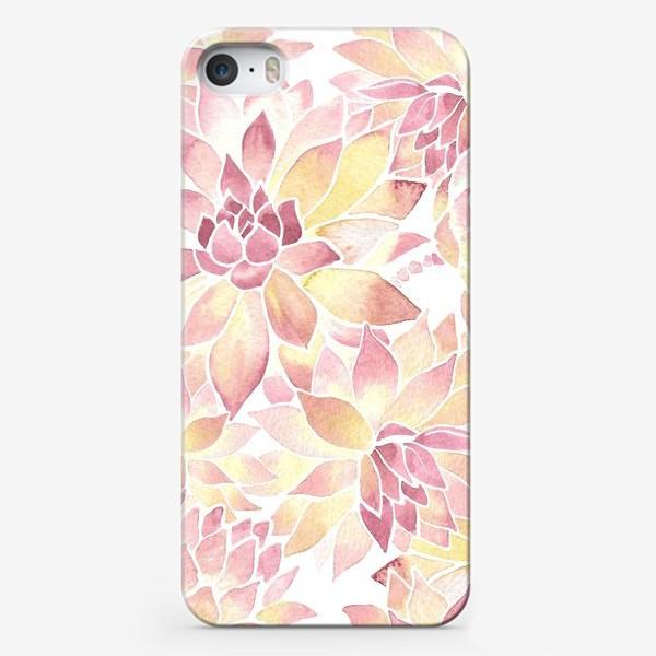 Чехол iPhone «Розовые акварельные суккуленты»
