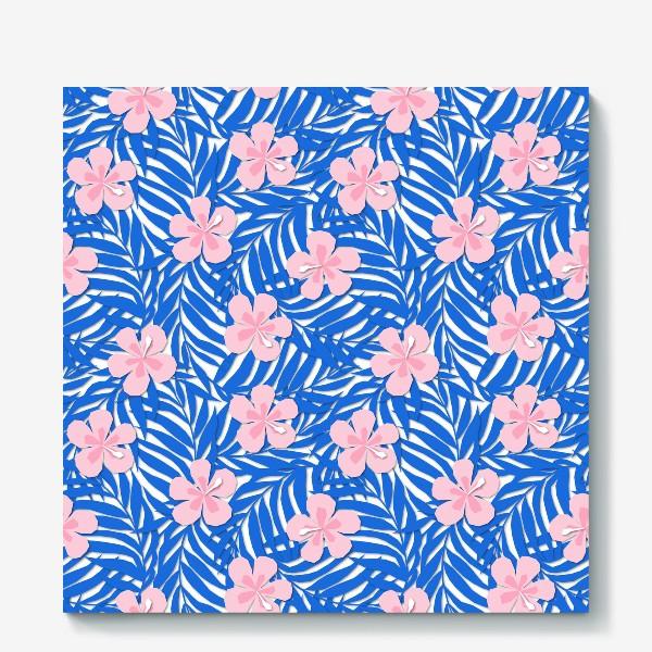 Холст «Тропики. Тропический цветок. Тропические цветы. Ветви пальмы. Пальмовый лист. Листья и бутон цветка.»