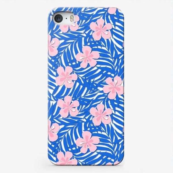 Чехол iPhone «Тропики. Тропический цветок. Тропические цветы. Ветви пальмы. Пальмовый лист. Листья и бутон цветка.»
