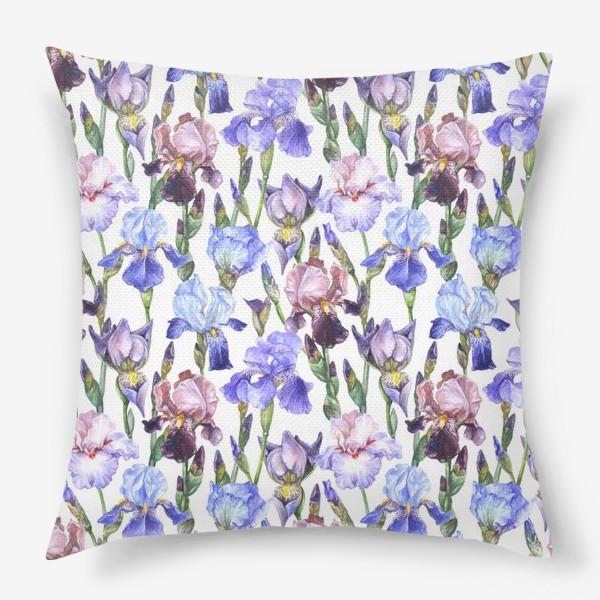 Подушка «Iris flowers pattern»