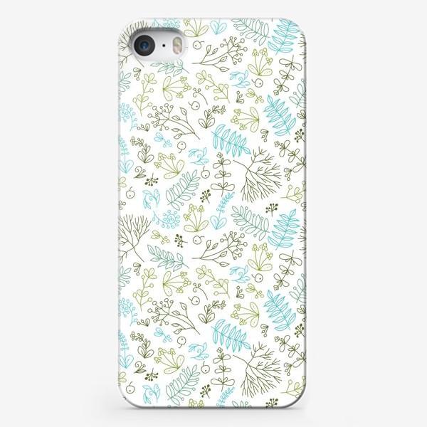 Чехол iPhone «Растительный паттерн на белом фоне»