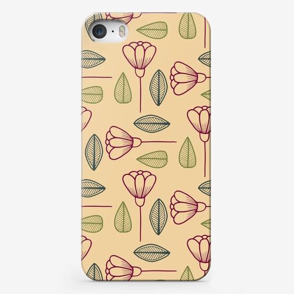 Чехол iPhone «Цветы и листья на бежевом фоне.»