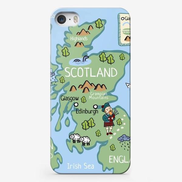Чехол iPhone «Карта Шотландии. Cartoon map of Scotland.»