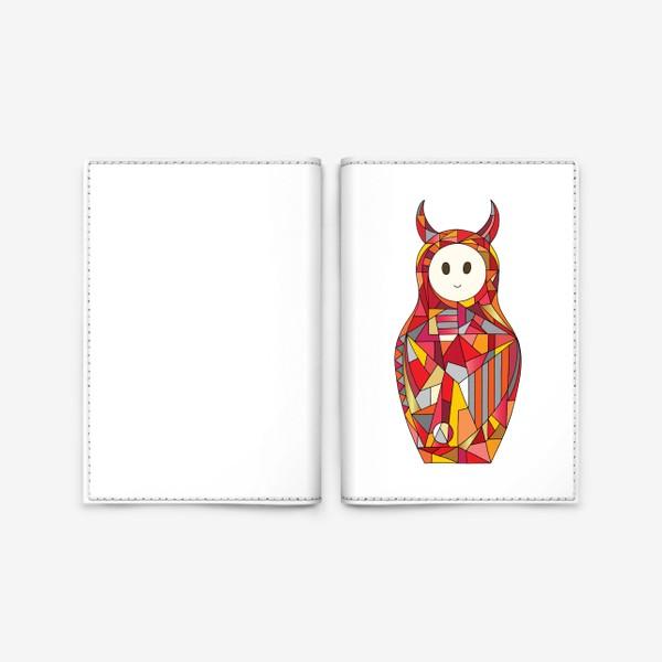 Обложка для паспорта «Матрешка аниме чертик»