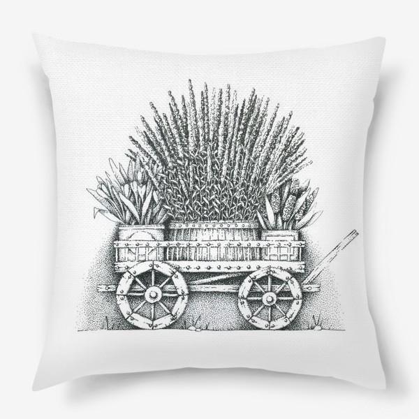 Подушка «Телега с цветами»